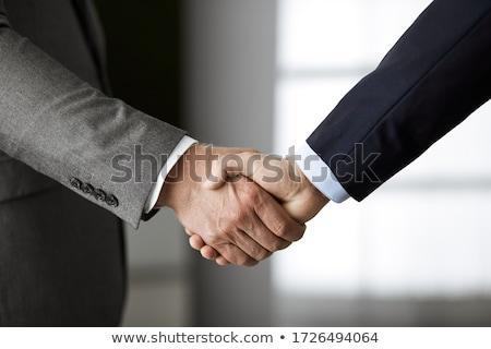 Foto stock: Empresario · socios · apretón · de · manos · traje · trabajo · en · equipo · negocios