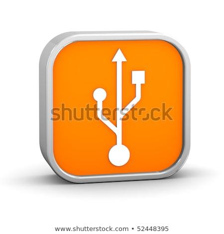 USB metallic 3D icon isolated on white background. Stock photo © tuulijumala