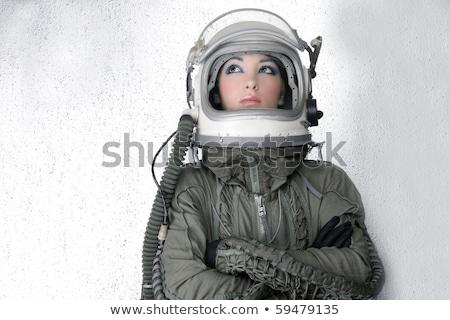 футуристический космический корабль самолета шлема астронавт женщину Сток-фото © lunamarina