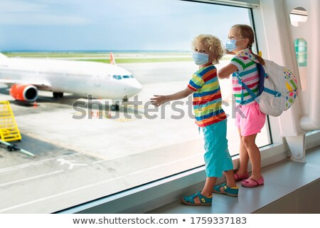 Gyerek repülőtér kétéves néz repülőgépek baba Stock fotó © d13