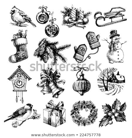 christmas balls and vintage clock stock photo © stevanovicigor