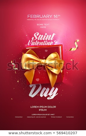 Red Gift Box with Gold Ribbon and Bow on the Red Background Stock photo © maxpro