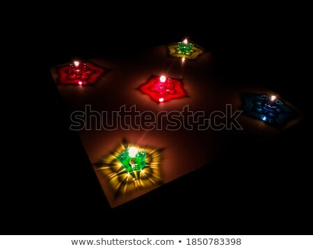 beautiful oil lamp reflection colorful diwali festival backgroun stock photo © bharat