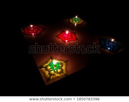 Beautiful oil lamp reflection colorful diwali festival backgroun Stock photo © bharat