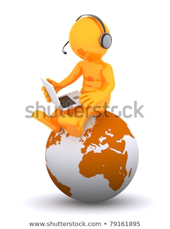 support phone operator sitting on earth globe stock photo © kirill_m