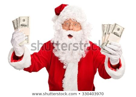 Noel baba dolar beyaz mutlu erkekler portre Stok fotoğraf © fotoatelie
