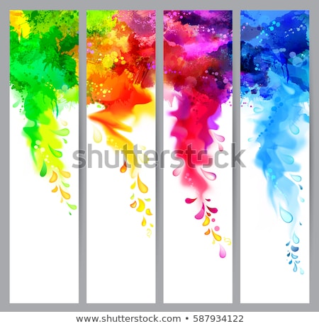 Header and banner set holi with colorful colours splash design  Stock photo © bharat