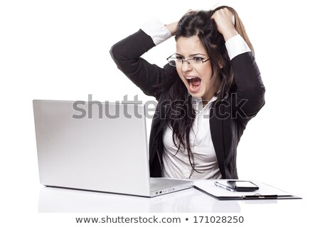 young businesswoman screaming at laptop stock photo © jeliva