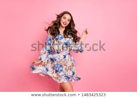 moda · modelo · vestido · branco · mulher - foto stock © lithian