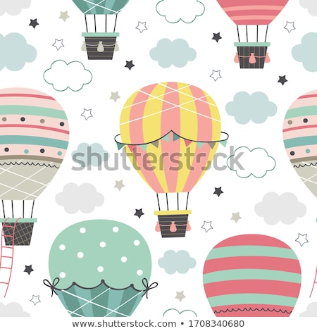 Seamless pattern of hot air balloons and clouds in the sky Stock photo © elenapro