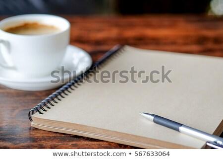 Portable stylo café cuir table affaires Photo stock © Tagore75