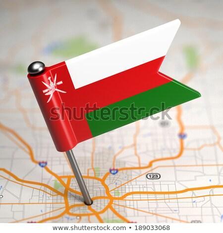 Stock fotó: Omán · kicsi · zászló · térkép · szelektív · fókusz · hirdetés