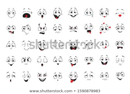 Rajz arckifejezés mosoly ikon szett izolált fehér Stock fotó © Voysla