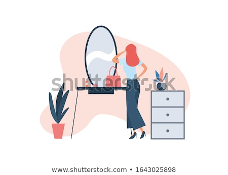 listo · mujer · bonita · equipaje · aislado · blanco - foto stock © eleaner