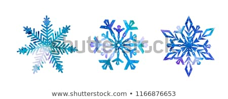 acquerello · fiocco · di · neve · capodanno · biglietto · d'auguri · design · neve - foto d'archivio © alexmakarova