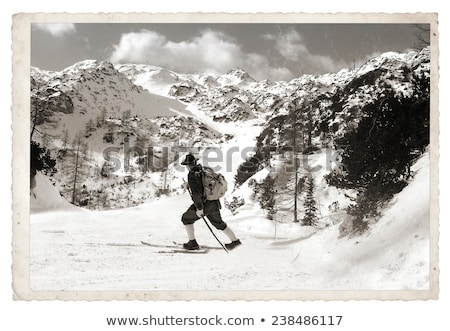 Sépia vintage skieur vieux traditionnel bois Photo stock © smuki
