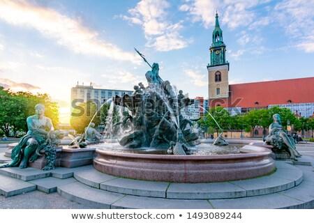 噴水 ベルリン アレクサンダー広場 広場 ドイツ 黒白 ストックフォト © claudiodivizia