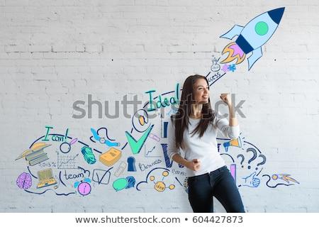 Fiatal vállalkozó test teljes alakos portré izolált Stock fotó © elwynn