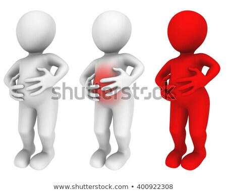 3d white people man with stomach ache stock photo © texelart