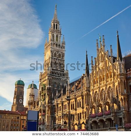 Iluminado ayuntamiento Munich imagen Alemania puesta de sol Foto stock © w20er