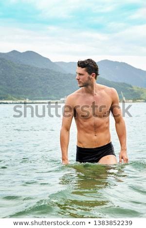 Gömleksiz adam güneş gözlüğü model erkek Stok fotoğraf © carloscastilla