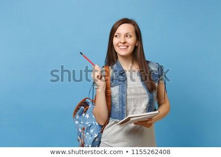 boldog · diák · nő · ír · jegyzetek · fehér - stock fotó © deandrobot