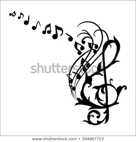 Music Notes Wall Decal Vector Illustration Stock photo © rizwanali3d