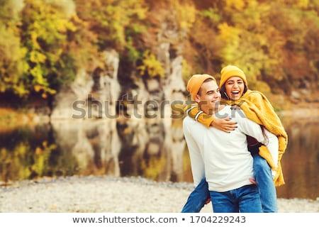 カップル 屋外 肖像 幸せ 女性 ストックフォト © deandrobot