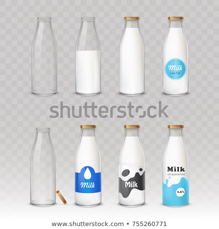 baby food and and milk bottle isolated on white Stock photo © tetkoren