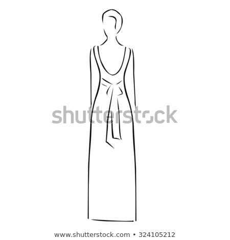 Abstract drawing of a slim woman wearing backless dress  Stock photo © shawlinmohd