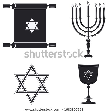 Hanukkah candleholder with 7 candles. Candlestick for 7 candles. Minor Stock photo © orensila