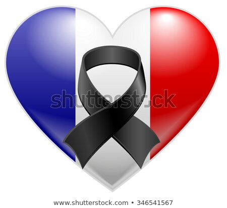 Frans vlag hart zwarte rouw lint Stockfoto © orensila