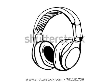 Doodle hoofdtelefoon icon Blauw pen Stockfoto © pakete