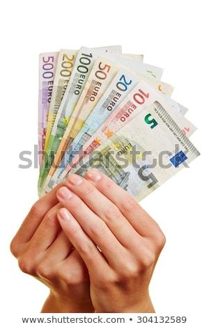 nő · Euro · kéz · arc · boldog · siker - stock fotó © Paha_L