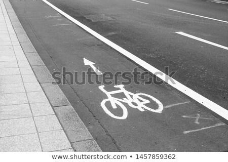 レトロな 自転車 レーン マーク 通り 日没 ストックフォト © stevanovicigor