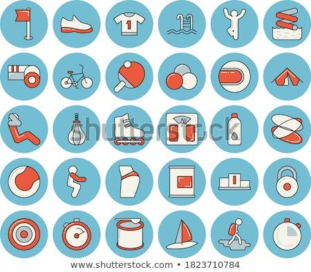 man · fitness · dun · lijn · icon · oefening - stockfoto © rastudio