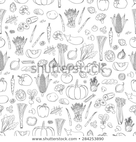 seamless pattern fruits and vegetables sketch set stock photo © netkov1