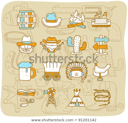 Hand drawn Wild West icons set  Stock photo © netkov1