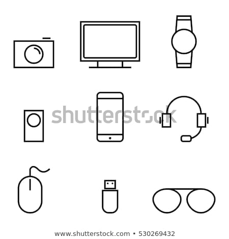 Gözlük bilgisayar monitörü hat ikon köşeler web Stok fotoğraf © RAStudio
