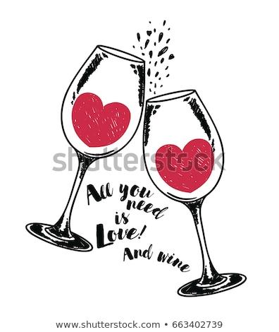 Liefde wijn hart restaurant drinken fles Stockfoto © shawlinmohd