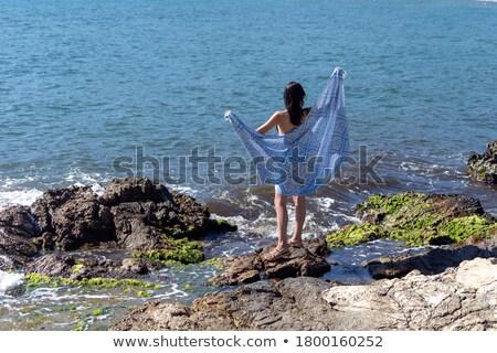 Kadın siyah bikini ayakta plaj zarif Stok fotoğraf © Maridav