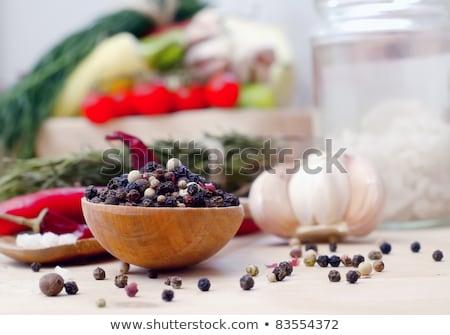 close up of white salt heap on wooden table Stock photo © dolgachov