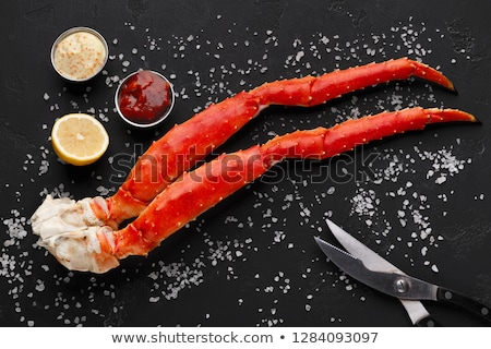 Top view of Red king crab served on black black background Stock photo © nasonov