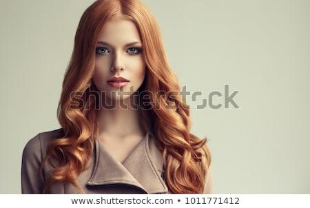 belo · jovem · mulher · sardas · retrato - foto stock © seenad