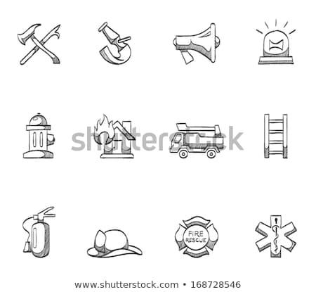 bombeiro · capacete · esboço · ícone · teia · móvel - foto stock © rastudio