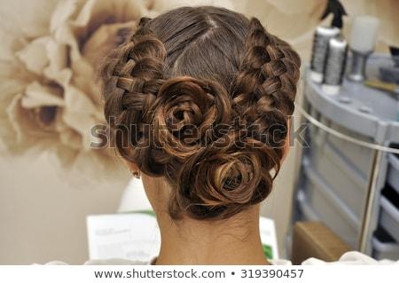 Stockfoto: Mooie · brunette · bruid · bruiloft · portret · krulhaar