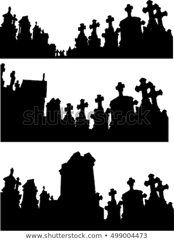 collection of graveyard silhouettes in black over white Stock photo © Melvin07