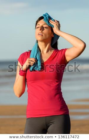 Cansado entrenamiento sudar frente deportes Foto stock © deandrobot