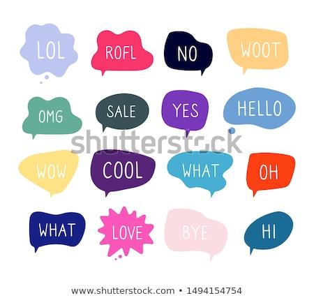 szett · különböző · szövegbuborékok · izolált · fehér · sziluett - stock fotó © bluering