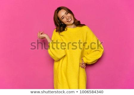 primer · plano · retrato · juguetón · chica · atractiva · de · punto · suéter - foto stock © deandrobot